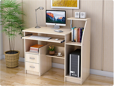 Office Computer Desk Bookshelf Student Study Table Home Storage 2 Drawer Cabinet