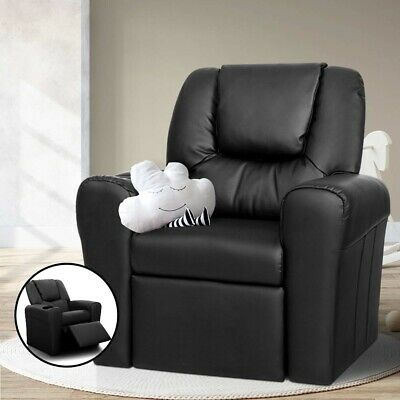 Kid Toddler Child Armchair PU Leather Recliner Chair Boy Girl Drink Holder Gift
