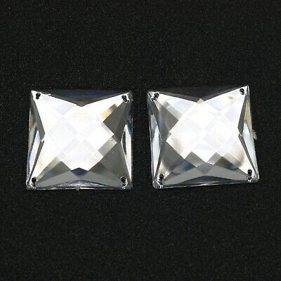 20 Clear Flatback Acrylic Big Sewing Rhinestone Square Sew On Beads 25X25mm