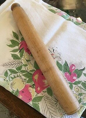Vtg European Wood Rolling Pin Farm House Baking Pre-Owned