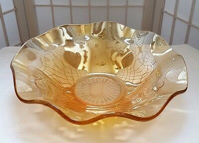 Iris and Herringbone Iridescent Carnival Ruffled Fruit Bowl Jeanette Glass Co (1