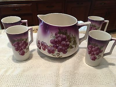 Antique Dresden Grape Design Pitcher and 4 Mugs with Handles - c1900 Juice