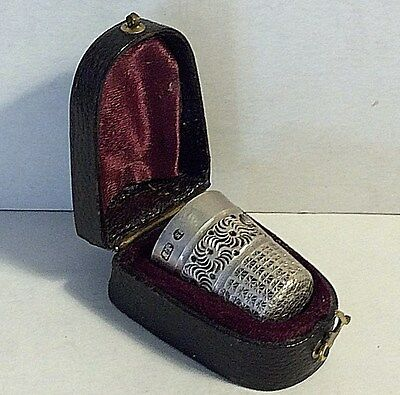 Antique Victorian English Thimble In Original Box Sterling Silver Hallmark #292