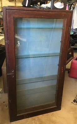 Antique Shallow Wall Pine Wood Showcase Display Case With Glass Shelves