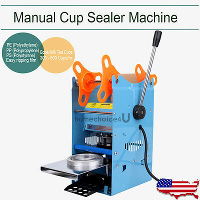 Manual Cup Sealer Machine 270W Boba Milk Tea Cups Film Lidding 300 500 Cups/hr