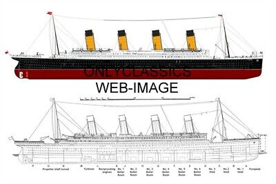 Rms Titanic Ocean Liner Ship Annotated Photo Graphic Design Art Print Poster