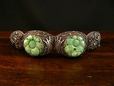 Beautiful Antique Chinese Jade & Silver Bracelet China Export