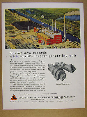 1958 ComEd Will County Coal Power Station photo Stone & Webster vintage print Ad