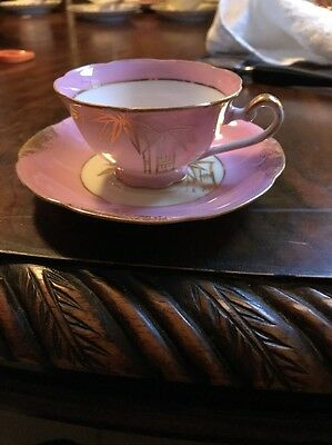 vintage Tea Cup And Saucer Pink And Gold Small Lot 119