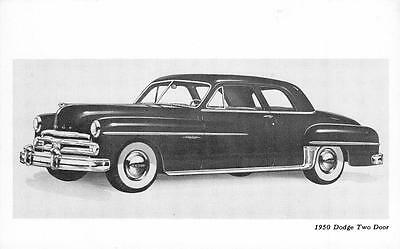 1950 DODGE TWO DOOR Sedan Classic Car Advertising Vintage Automobile Postcard