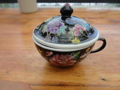 Vintage Chinese Millefleur Famille Noire Enamelled Lidded Cup