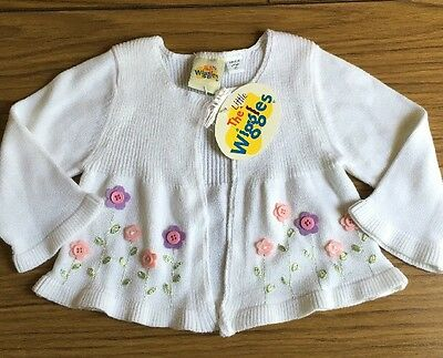 THE Little WIGGLES Size 00 Cotton Baby Cardi With Flower Design *NEW*