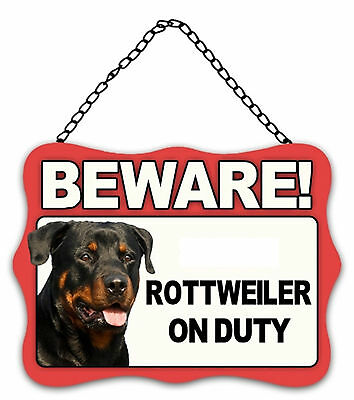 Dog Sign Plaque Beware Rottweiler on Duty Metal 20x27cm