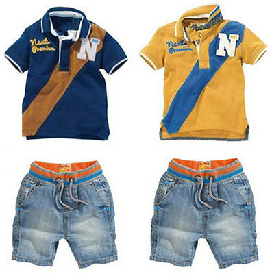 Toddler Baby Boys Kids Polo Shirt+Denim Shorts Clothes Outfits Set