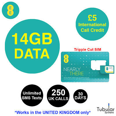 EE PAYG 4G Sim Card Preloaded With 14GB Of Data