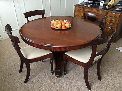 """Victorian Antique Mahogany 50""""Tilt Top Breakfast Round Table & William IV Chairs"""