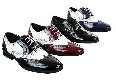 Mens Lace Patent Brogues Shoes Gatsby Classic 1920's Shiny White Black Red
