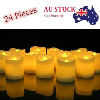 24PC LED Flameless Tea Light Tealight Candle Wedding Church Decoration+Battery