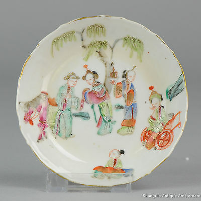 Perfect 19C Chinese Porcelain Small Plate Saucer Figures Horse Marked Antique