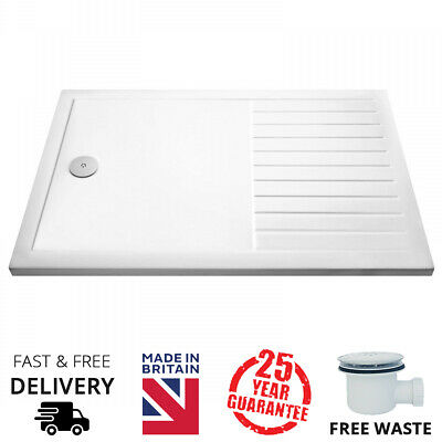 Low Profile Walk In 40mm Stone Shower Tray with Drying Area and Fastflow waste