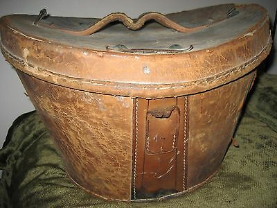 Vintage Antique Victorian Top Hat Box Thick Saddle Leather Cotton Lining 1800s