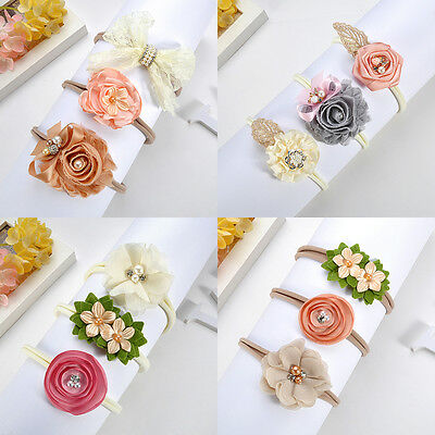 3Pcs Newborn Toddler Baby Girl Hairband Flower Nylon Headband Hair Accessory