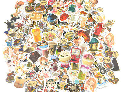 NEW Cartoon Anime Nature Cat Flowers Coffee Fashion Food Sticker lot Die-cuts