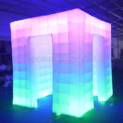 110V 2 Door Inflatable LED Air Photo Booth Tent Weddings Birthdays Events 2.5M