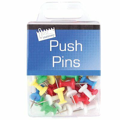 50 x PUSH PIN ASSORTED PACK MULTI-COLOURED PUSH DRAWING PINS NOTICE CORK BOARD