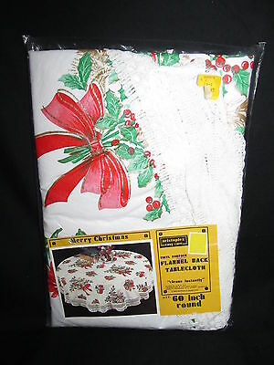 "Vintage Round Christmas Tablecloth Vinyl Surface Flannel Back Fringed 60"" Holly"