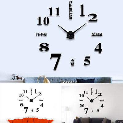 Large 3D Design Wall Clock Luxury Mirror Home Decoration DIY Bedroom 2 Colors