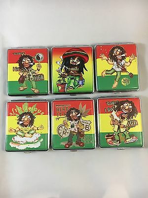 Hard Case Bob Marley Weed Case Cigarette Holder Push Tobacco Case Tin 20 cig