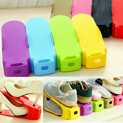 Simple Shoes Rack Solid Color Plastic Double Adjustable Layer Storage Hanger GYT