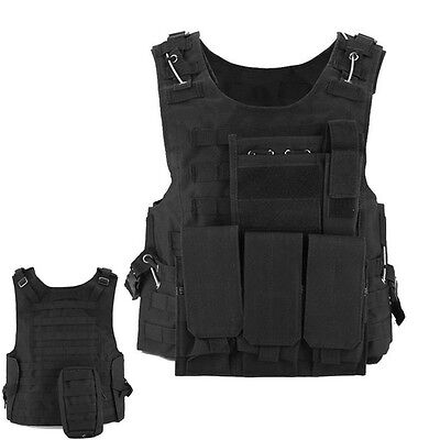 Black SWAT Tactical Military Airsoft Hunting MOLLE Plate Carrier Assault Vest
