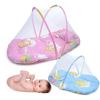 Baby Infant Foldable Crib Bed Mosquito Net Canopy Portable Tent Pillow Cushion