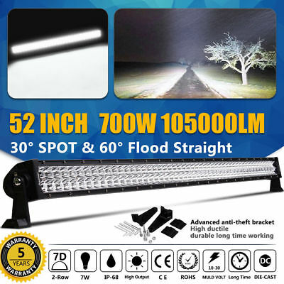 672W CURVED 50inch LED Combo Flood Spot WORK Light Bar SUV Truck 52/54 OFFROAD