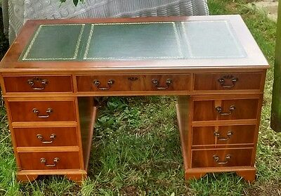 Twin Pedestal Reproduction Yew Wood Desk