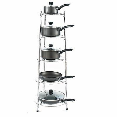 Chrome Five Tier Kitchen Pan Stand Saucepan Pot Rack Storage Stand Holder