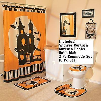 Halloween Haunted Mansion Witch Cat Silhouette 16 Pc  Bath Decor Complete Set