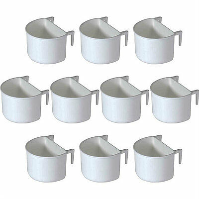 10x Pet Ting Plastic D Cup Feeder Pots 7.5cm with hooks - Finch, Canary, Budgie