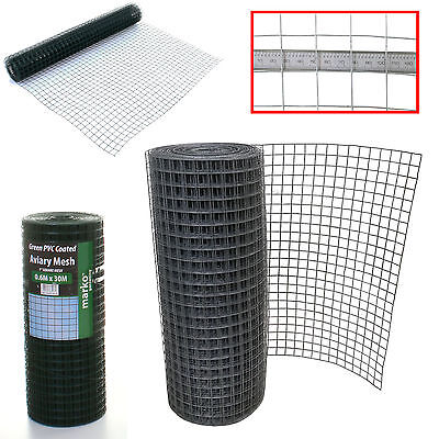 """Marko 1"""" Galvanised Welded Wire Mesh Aviary Fence Panel PVC Coated Chicken Wire"""