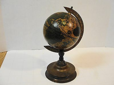 "Vintage Miniature Old World Earth 5.5"" Globe Bronze Metal Stand Made In Italy"