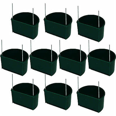 10x Pet Ting 7cm Green D Cup Feeder with Wires - Finch, Canary, Budgie
