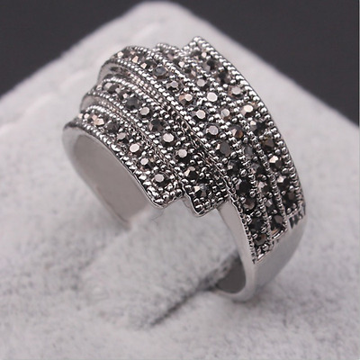 Bague Fantaisie Argenté Ring Strass Chic Fashion Femme Fille