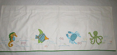 Pottery Barn Kids Sea Ocean Critters Cotton LIned Valance Seahorse Octopus Fish