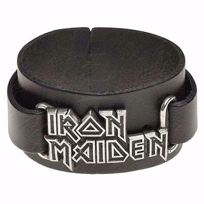 Alchemy Rocks Iron Maiden Logo Wristband Black Real Leather Official Band Merch
