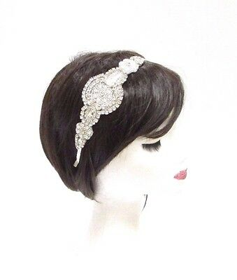 Silver Ivory Pearl Bridal Headband Wedding Headpiece Diamante Hair Band Vtg 2907