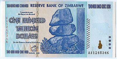 Zimbabwe 100 Trillion Dollars 2008 AA UNCIRCULATED Note / Currency JX257