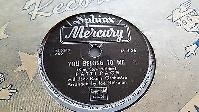 Patti Page You Belong To Me & I Went To Your Wedding Mercury M126