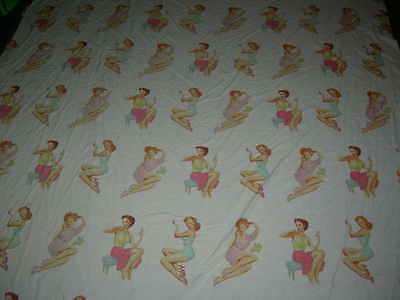 Vintage style modern 1950s pin up glam girls cotton or mix fabric textile